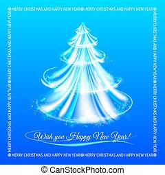elvont, kék, karácsonyfa, háttér.