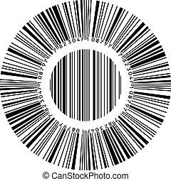 elvont, kör alakú, vonalkód