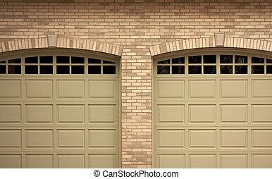 elvont, közül, modern, otthon, garázs ajtó