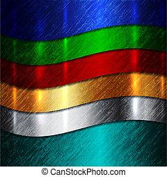 elvont, kanyarok, fémből való, sokszínű, vektor, háttér
