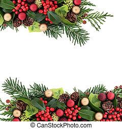 elvont, karácsony, floral határ
