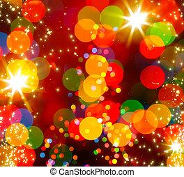 elvont, karácsonyfa, fény, háttér