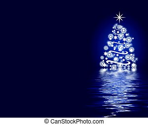 elvont, karácsonyfa, háttér, kék