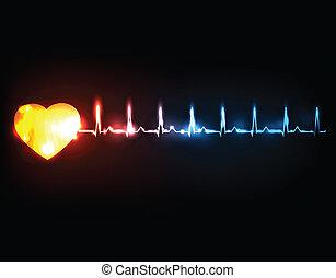 elvont, kardiogram, noha, szív
