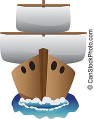 elvont, karikatúra, csónakázik