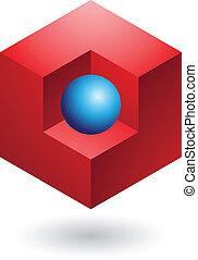 elvont, kocka alakú, ikon