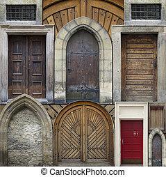 elvont, kollázs, -, öreg, ajtók
