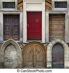 elvont, kollázs, közül, öreg, ajtók