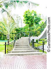 elvont, lépcsőfok, lábnyom, alatt, kert