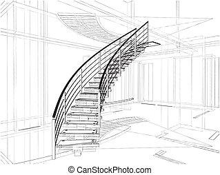elvont, lépcsőházak, spirál