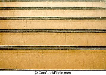 elvont, lépcsősor, alatt, öreg, sárga, árnyék