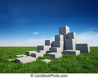 elvont, lépcsősor, közül, beton, kikövez