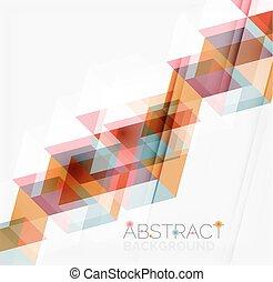 elvont, modern, átfedő, háttér., geometriai, háromszögek