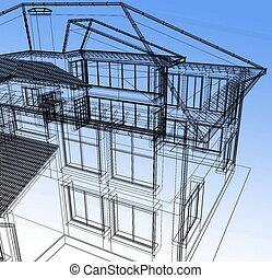 elvont, modern, épület