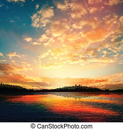 elvont, napnyugta, tó, háttér, erdő