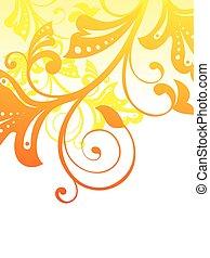 elvont, narancs háttér, virágos, művészi