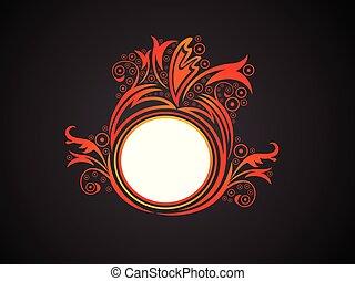 elvont, narancs, virágos, kreatív, művészi, karika