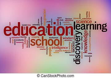 elvont, oktatás, szó, felhő, háttér