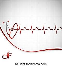 elvont, orvosi, kardiológia, elektrokardiogramm, háttér