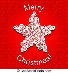 elvont, piros, karácsony, csillag, hópehely