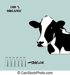 elvont, portré, közül, nagy, cow., fekete-fehér, silhouette.