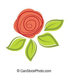elvont, rózsa, flower., vektor, ábra