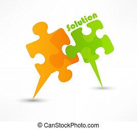 elvont, rejtvény, alakít, színes, vektor, design., a, oldás, fogalom