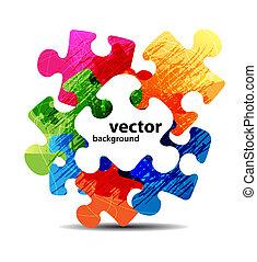 elvont, rejtvény, alakít, színes, vektor, tervezés