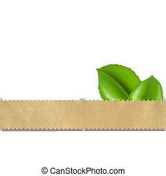 elvont, retro, vektor, dolgozat, háttér, noha, levél növényen