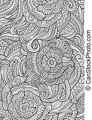 elvont, sketchy, dekoratív, doodles, kéz, húzott, etnikai, motívum