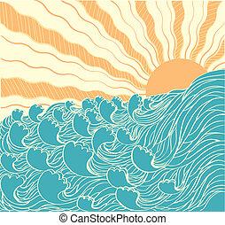 elvont, su, vektor, ábra, tenger, waves., táj