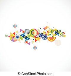 elvont, színes, és, kreatív, háromszög, háttér, vektor, ábra