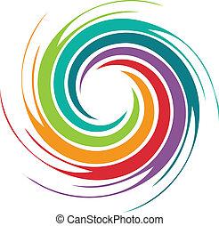 elvont, színes, örvény, kép