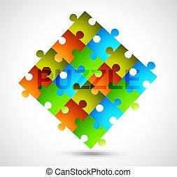 elvont, színes, fényes, rejtvény, vektor, tervezés
