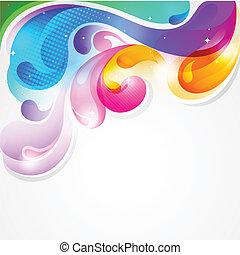 elvont, színes, festék fröccsen, vektor, háttér