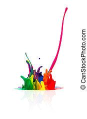 elvont, színes, fröcskölő, festék