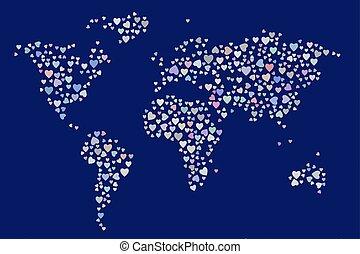 elvont, színezett, szív, vagy, szeret, képben látható, világ térkép, alakít, pattern., vászon, mód, átfed, &, geometric.