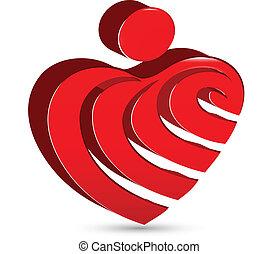 elvont, szív, alak, ikon, vektor, tervezés