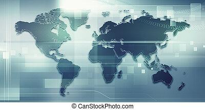elvont, techno, háttér, noha, szárazföld térkép, helyett, -e, tervezés