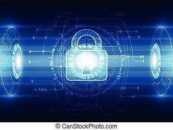 elvont, technológia, biztonság, képben látható, hálózat, háttér, vektor, ábra