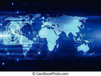 elvont, technológia, biztonság, képben látható, teljes hálózat, háttér, vektor, ábra