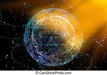 elvont, technológia, háttér, noha, teljes kommunikáció, magas, részletes, globe., 3, ábra