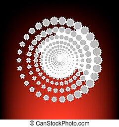 elvont, technológia, karikák, cégtábla., levélbélyeg, vagy, öreg, fénykép, mód, képben látható, red-black, gradiens, háttér.