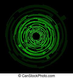 elvont, technológia, zöld, karikák, háttér