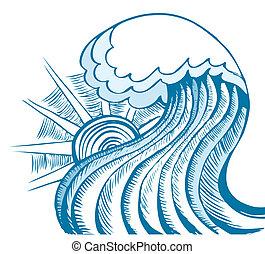 elvont, tenger, wave., vektor, ábra, közül, kék, tenger