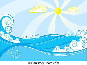 elvont, tenger, waves., vektor, ábra, képben látható, kék,...
