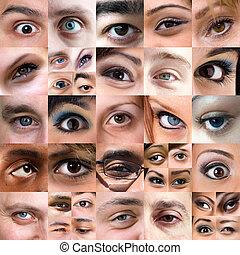 elvont, változatosság, közül, szemek, montázs