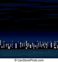 elvont, város, éjszaka
