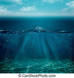 elvont, víz alatti, háttér, helyett, -e, tervezés