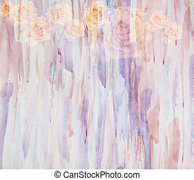 elvont, vízfestmény festmény, alatt, kombináció, noha, menstruáció, agancsrózsák, -floral, grunge